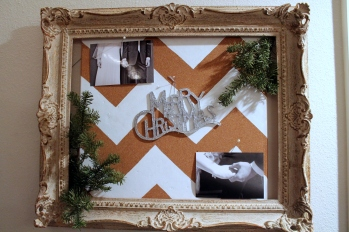 This cork board got into the Christmas spirit with tree cuttings and an ornament