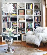 cozy chair and lots of shelves