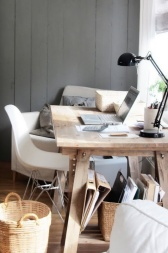 wood desk and grey wall