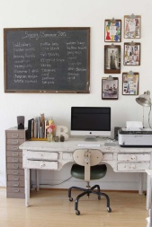 black board and clip boards and that lamp!